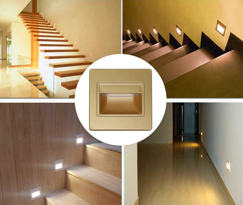 Stair light Led Wall Light 3W LED COB Footlight Stair Lamp Step lighting Nightlight  Stairway Corridor Foyer Kitchen with 86 Bo