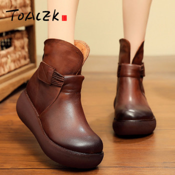 Hand-made leather women's shoes fall and winter new vintage casual plus cotton women's shoes tidal thick base joker casual shoes