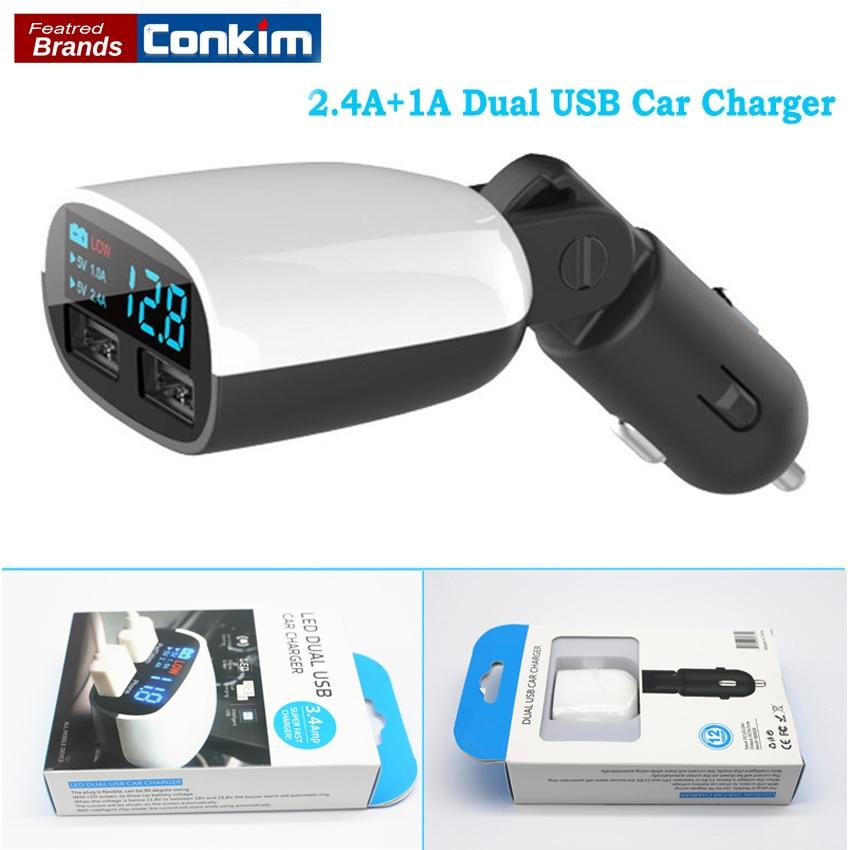 Diszipliniert Conkim Universal 5 V 2.4a + 1a Dual Usb Auto Ladegerät Adapter Led Monitor Display Handy/ipad/ Gps/dvr Tablet Auto-ladegerät
