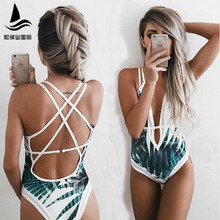 9c2d5bc04d3e3 2018 New Sexy Integrated Swimsuit High Qualityi Women Graphic Print Strappy  Back One Piece Swimwear(