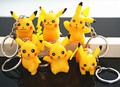 6Pcs Pikachu Keychain Cartoon Pokemon Go Pocket Monster Ornaments Key Chain Keyrings Cute Christmas Gift
