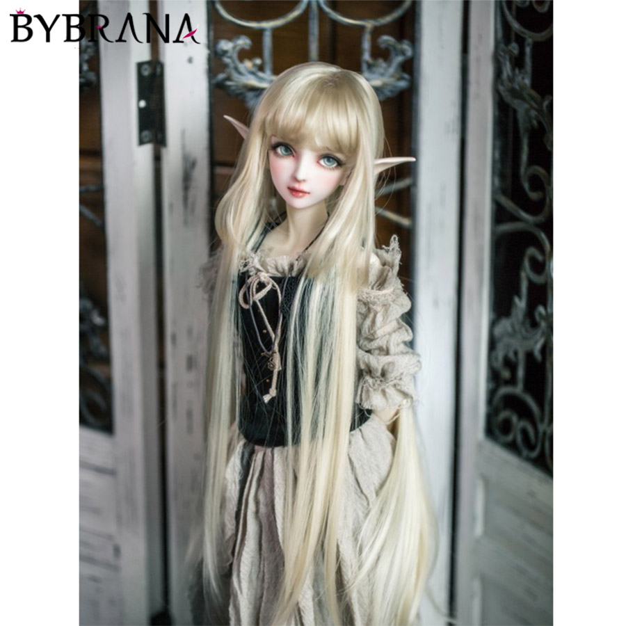 Bybrana Good Quality Heat Resistant Synthetic Hair Beautiful Straight 1/3 1/4 1/6 BJD Doll Wigs