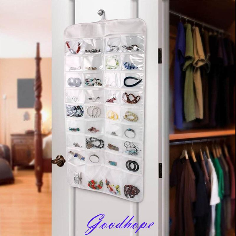 Wall Door Closet Fine Jewelry and Accessory Hanging Organizer Ear Ring Necklace Bangle Storage Roll Bag Pouch Canvas 72 Pockets