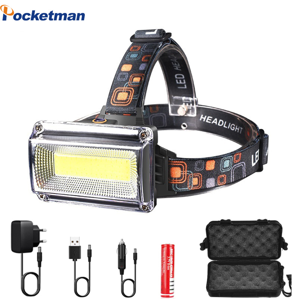 New 10000LM Super Bright COB LED Headlight Waterproof Headlamp DC Rechargeable Head Light Head Torch With 18650 Battery