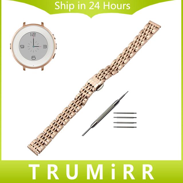 14mm Faixa de Relógio de Aço Inoxidável + Ferramenta para Pebble Tempo Rodada 14mm Mulheres Borboleta Cinto de Fivela Correia de Pulso Pulseira em Ouro Rosa prata