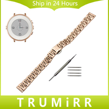14mm Stainless Watch Band + Tool for Pebble Time Round 14mm Women Butterfly Buckle Strap Wrist Belt Bracelet Rose Gold Silver