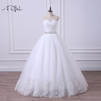 ADLN 2018 Ball Gown Wedding Dress Robe de Mariee Elegant Sweetheart Sleeveless Tulle Beaded Corset Bridal Gown Plus Size