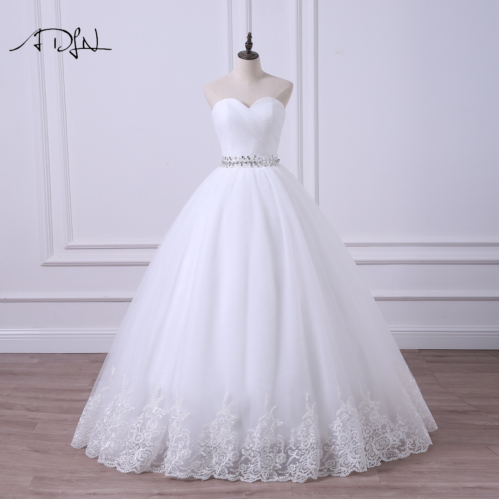 ADLN 2019 Ball Gown Wedding Dress Robe De Mariee Elegant Stock Sweetheart Tulle Beaded Corset Cheap Bridal Gown Plus Size