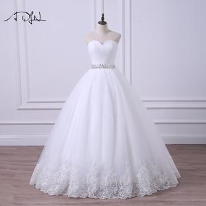 Image 1 - ADLN 2020 Ballkleid Hochzeit Kleid Robe de Mariee Elegante Echt Fotos Schatz Tulle Perlen Korsett Günstige Brautkleid Plus größe
