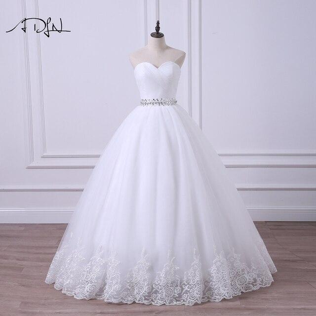 ADLN 2020 Ballkleid Hochzeit Kleid Robe de Mariee Elegante Echt Fotos Schatz Tulle Perlen Korsett Günstige Brautkleid Plus größe