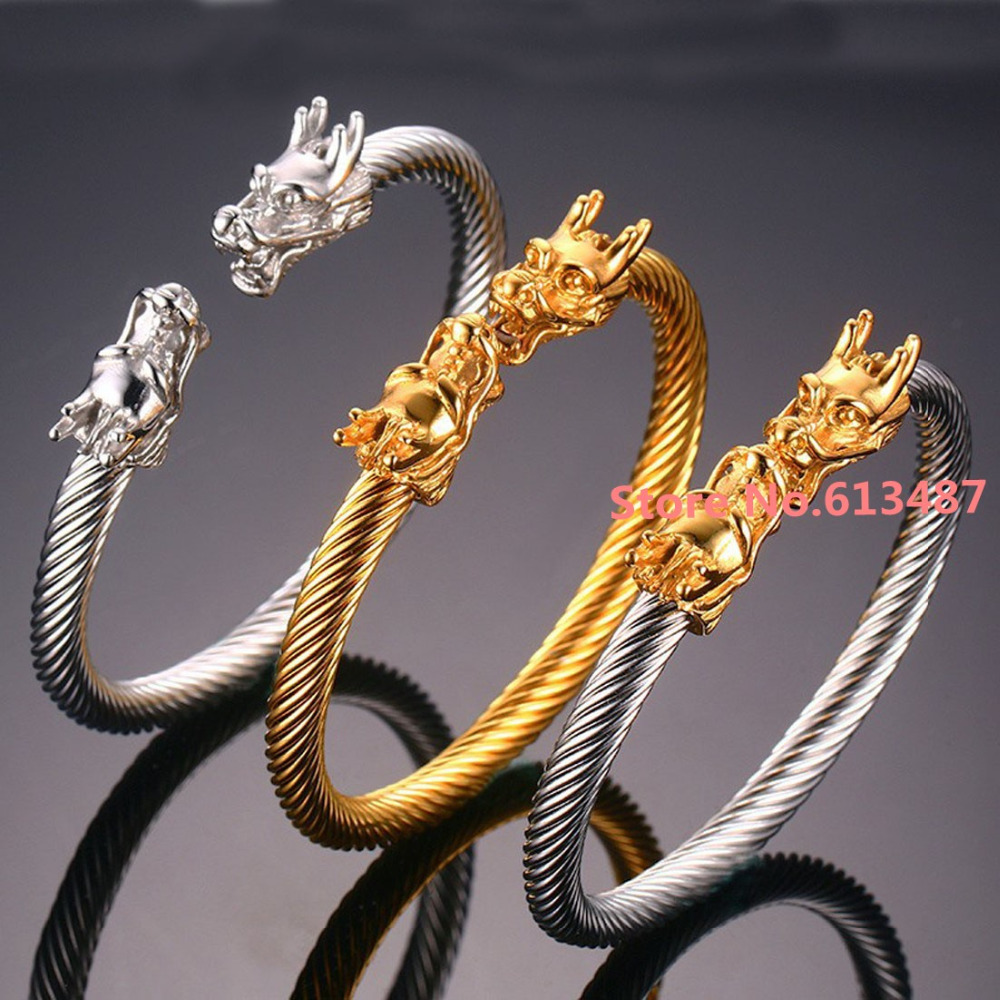 Fashion Design 316L Stainless Steel Silver Gold Dragon Wire Cuff ...