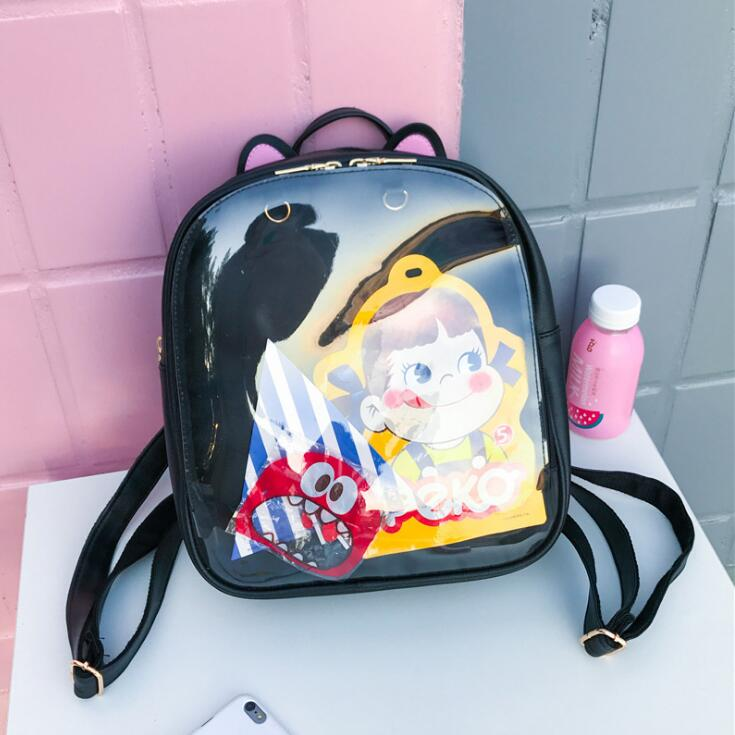 Mulheres Doces Cor Gato Ita Saco Sacos De Escola para Adolescentes Coreano Couro PU Geléia Mochila Transparente Rugtas Mochila Escolar