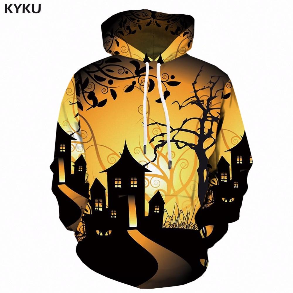KYKU 3d Psychedelic Hoodies Men Halloween Ghost Hoodie Print Anime Clothes Cosplay Print