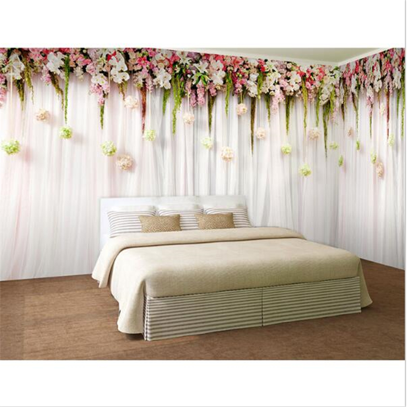 beibehang papier peint romantique fleurs photo papier peint grande chambre murale. Black Bedroom Furniture Sets. Home Design Ideas