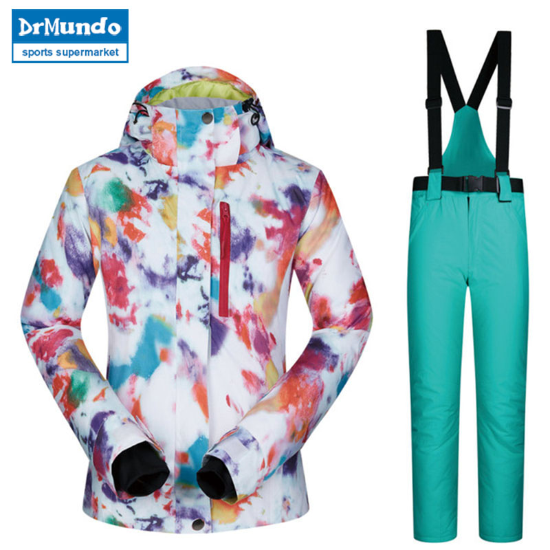 2018 haute qualité Ski costume femmes coupe-vent imperméable respirant chaud Snowboard vestes et pantalons MHSJ hiver Ski veste femmes - 4