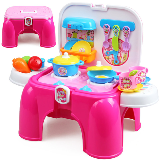 kids kitchen toys commercial kitchens big for girls children s cooking lighting simulation set tableware small stool ty80