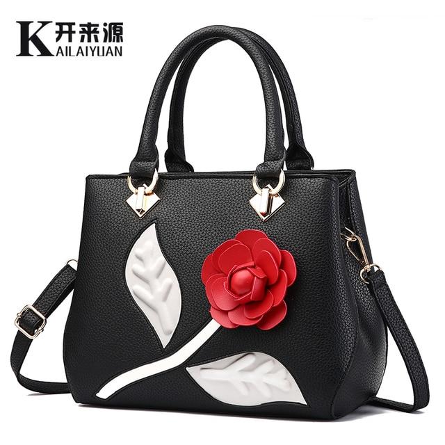 3cdae97af48 US $19.19 96% OFF|100% Genuine leather Women handbags 2019 New Female sweet  lady stereotypes fashion handbags slung shoulder bag Flower bag-in ...