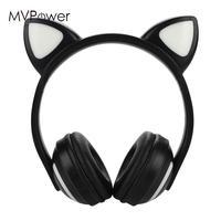 Cat Ears Earphone Cat Ears Stereo Gleamy LED Bluetooth Headset School BT 4.2 Wireless Bluetooth Headphone LED HIFI
