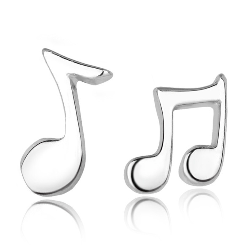 Lovely Silver Plated Musical Note Small Stud Earrings For Women Pendientes Plata Summer Simple Asymmetry Channel Earings Jewelry
