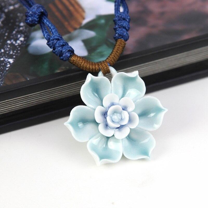 Jingdezhen Original Braided Rope Flower Pendant Fashion Personality Handmade Female Chinese Style Ceramic Necklaces CN189