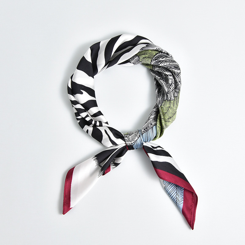 70*70cm Square Scarf Fashion Spring Women Silk Zebra Print Ladies Scarves Elegant Neckerchief Hair Tie Skinny Retro Silk Satin