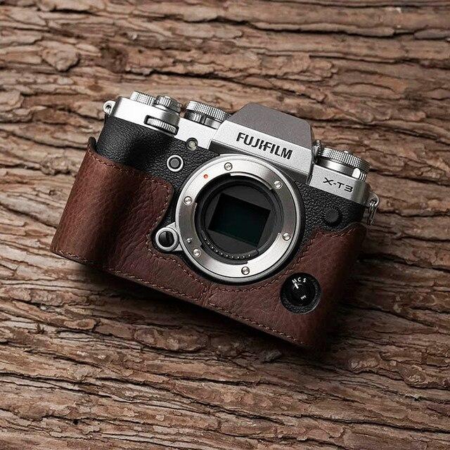فوجي X T3 XT3 كاميرا Mr. Stone اليدوية جلد طبيعي كاميرا فيديو نصف حقيبة كاميرا ارتداءها