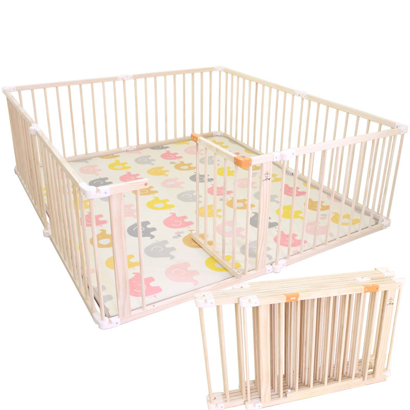 Playpen Baby Game-Fence Wood Foldable Toddler Outdoor Children's Solid title=