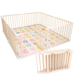 Foldable Baby Playfence Indoor Outdoor Game Fence Solid Wood Children's Playpen Baby Toddler Playhouse Play Yards Safety Fence