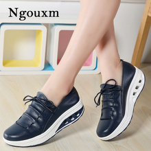 Ngouxm 2019 Autumn Women Flat Platform Shoes Woman Flats Leather Slip On Ladies Shoes Casual butterfly knot Loaferbig size shoes