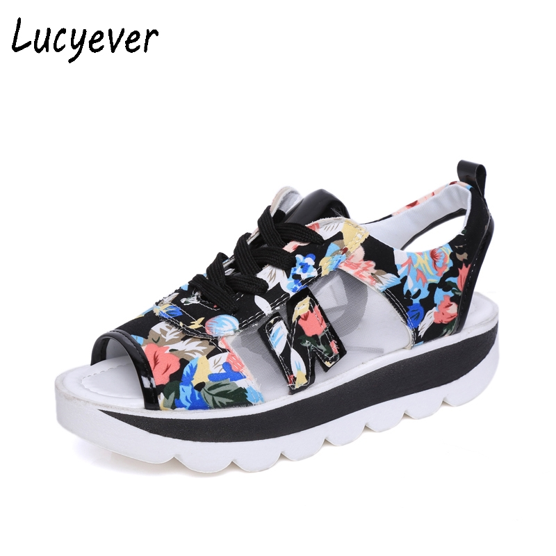 Lucyever Women Sandals Summer Peep Toe Platform Shoes Woman Classic Lace up Creeper Student Sandals Print Patchwork Casual Shoes lucyever women casual peep toe shoes thick platform creepers sandals woman fashion wedges high heels stars summer shoes