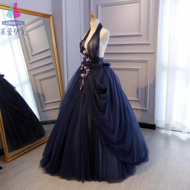 navy blue veil cosplay ball gown medieval dress Renaissance gown ...