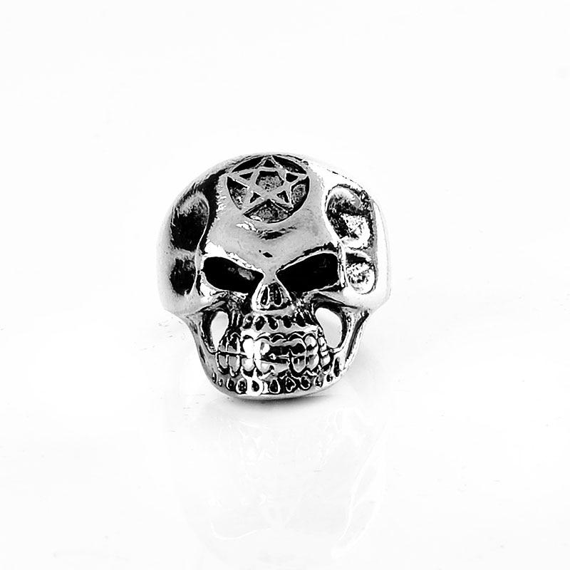 Wholesale Vintage Retro Head Skull Hollow Signet Ring Stainless Steel Vintage Men Punk Rock Skeleton Ring Jewelry