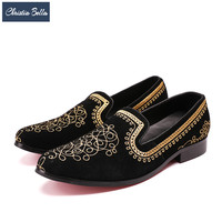 Vintage British Men Embroidery Loafers Fashion Gold Suede Moccasins Plus Size Slippers Party Dress Shoes Flat