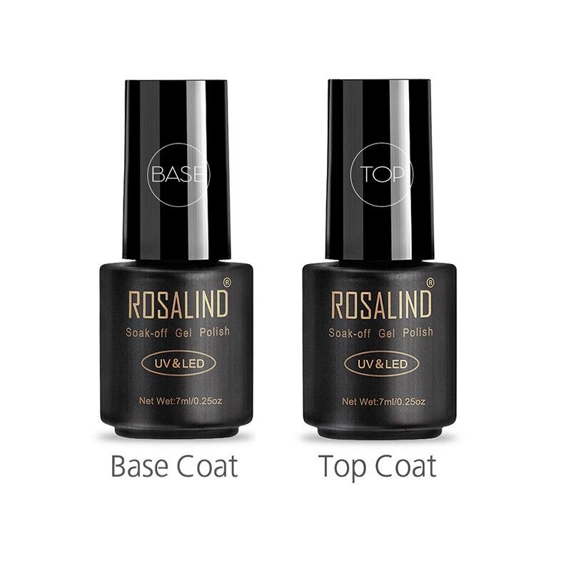 ROSALIND Top and Bace Coat гибридные Лаки Гель-лак для ногтей 7 мл УФ-лампа для ногтей отвержденный Полупостоянный гель для ногтей верхний базовый гель