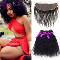 7A Ali Moda Hair With Frontal,Brazilian Kinky Curly Virgin Hair Weave Afro Curly Wavy 4 Bundles With Closure,Ali Pearl Hair