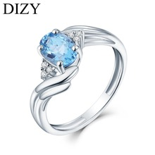 DIZY Oval Natural 1.0CT SwissBlue Topaz Ring 925 Sterling Silver Gemstone Ring for Women Romantic Gift fine Engagement Jewelry leige jewelry promise ring natural pink quartz ring oval cut pink gemstone 925 sterling silver ring romantic ring for women