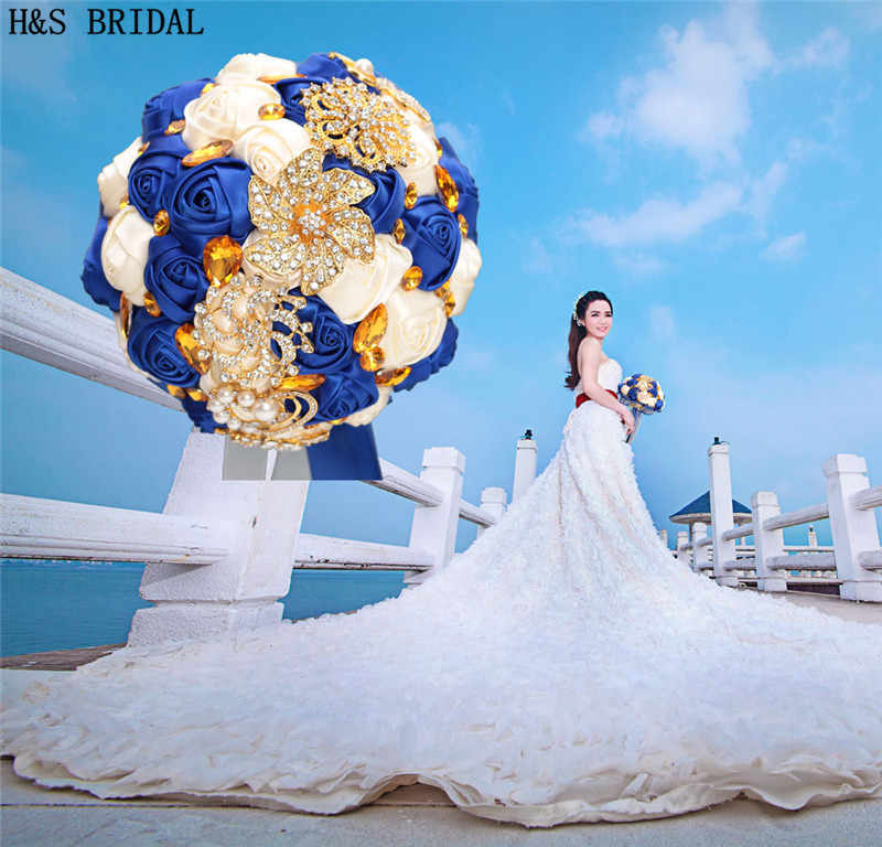 Royal Blue Wedding Flower Luxury Gold Rhinestone Bride Flowers For