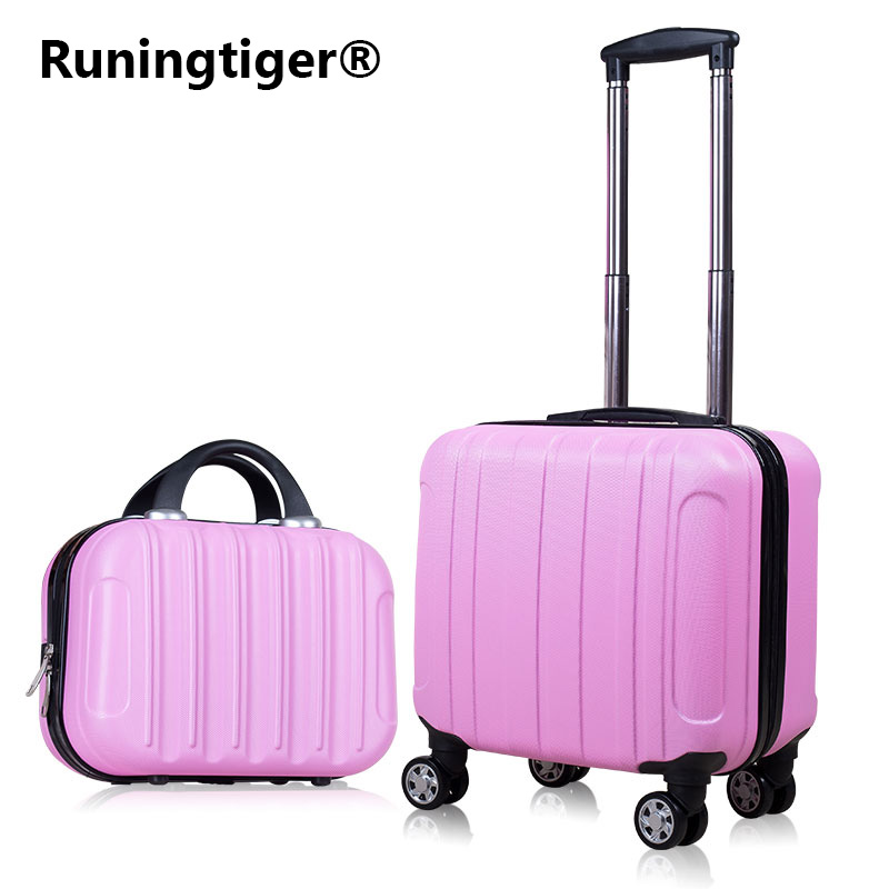 2PCS Carry on Travel Suitcase Women Laptop Luggage Stripe Pattern Small Luggage 18 Spinner Boarding box Rolling Cosmetic case stripe star ball pattern pillow case