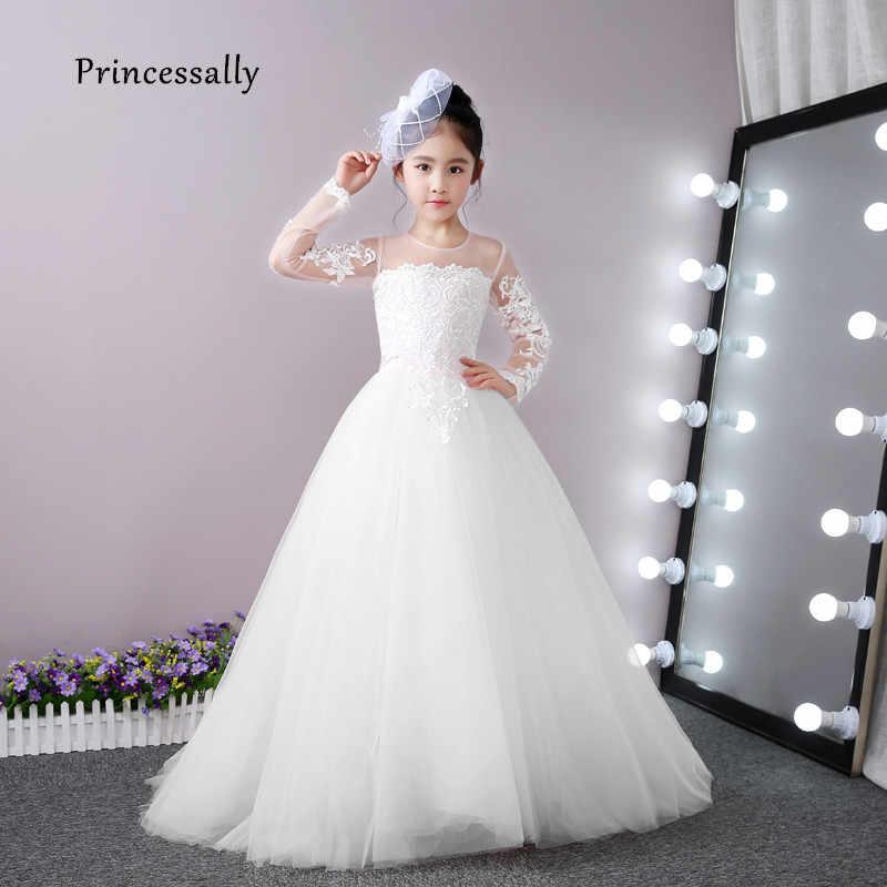 7fb957c046193c7 Высокое качество Белое платье с цветочным рисунком для девочек для свадьбы  Кружево с длинными рукавами маленький