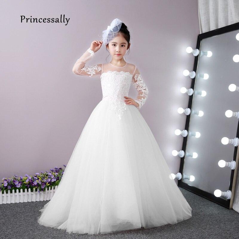 High Quality White Flower Girl Dresses For Weddings Lace Long Sleeve