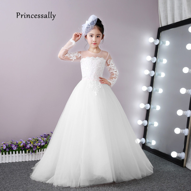 5d7a1266709 High Quality White Flower Girl Dresses For Weddings Lace Long Sleeve With  Small Train Prom Party