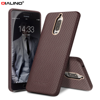 QIALINO Mesh Design Genuine Leather Coated PC Mobile Phone Accessory for Huawei Mate 9 Pro / Mate 9 Porsche Design 5.5 inch