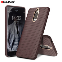 QIALINO Mesh Design Genuine Leather Coated PC Mobile Phone Accessory For Huawei Mate 9 Pro Mate
