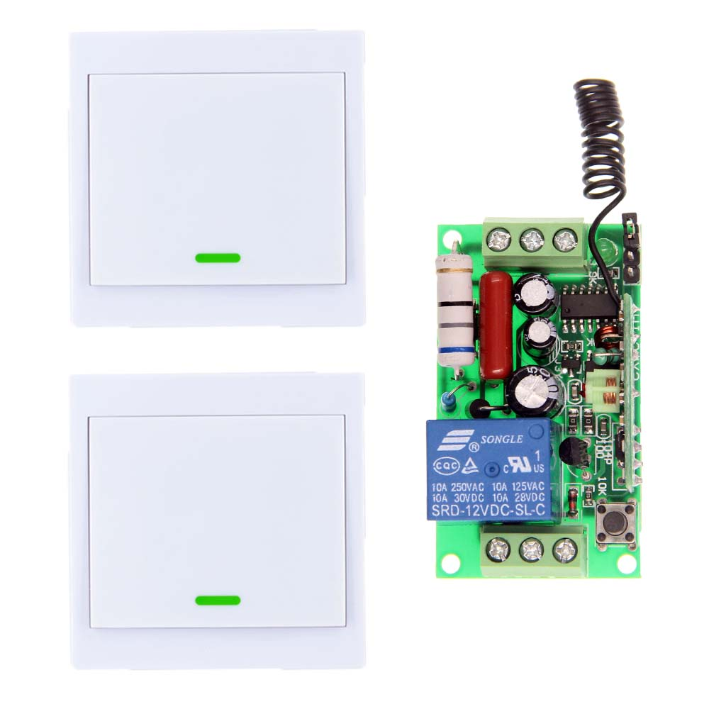 AC 220V 110V 1 CH 1CH RF Wireless Remote Control Switch System Receiver +2 X Wall Panel Transmitter,Toggle 315 433.92 MHZ rf wireless remote control switch 220v 110v power switch system 12 receiver