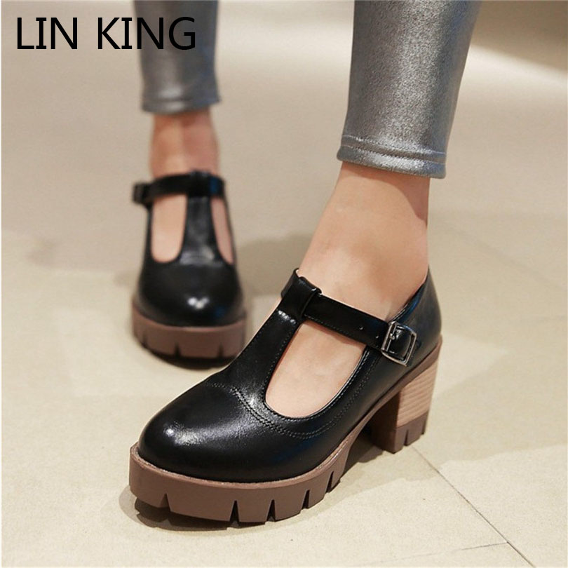 LIN KING New Buckle Round Toe Women Pumps Comfortable Shallow Mouth Leather Shoes New Arrive Brogue High Heel Shoes For Girls lin king fashion pearl pointed toe women flats shoes new arrive flock casual ladies shoes comfortable shallow mouth single shoes