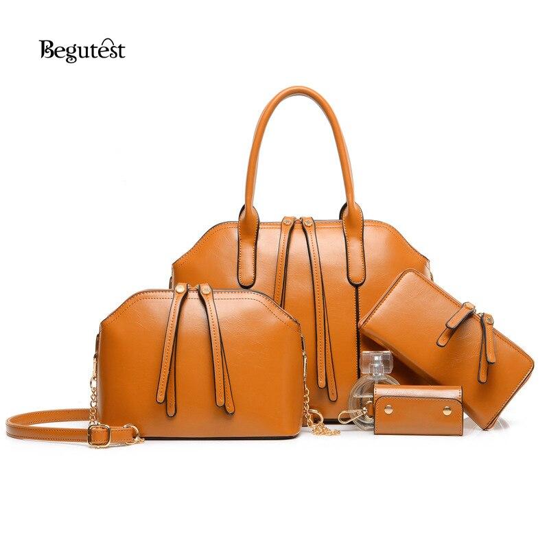 f90c980b0a9d 4 In 1 Set Luxury Handbags Women Bags Designer Female Pu Leather Messenger  Bag High Quality Vintage Ladies Handbag Black/Brown