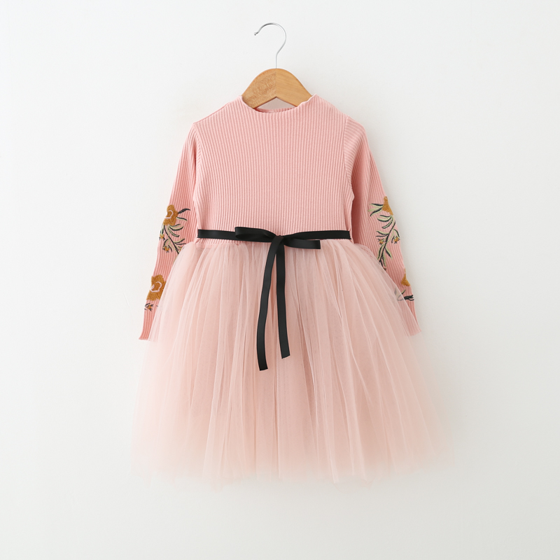 kids girls dress Spring long one-piece baby cotton dresses children Party Tutu dress 6Y fashion Princess costume Clearance sale blue kids girls party dress 2017 cotton casual students denim dresses kids sashes button clothes children one piece dresses