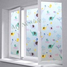 Cartoon Elephant Stained Frosted Static Cling Glass sticker Privacy Window Film Decorative kids room Home Decor 45/60/90*200cm