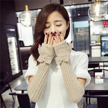 2019 Autumn Winter Women Knitted Wool Gloves Elegant Bowknot Lady Fingerless Mittens Thermal Arm Warmers Solid Color Half Finger