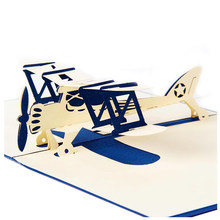 UESH 3D Laser Cutting Pop Up Holiday Happy Birthday Card Gift Postcard Airplane Model Blue